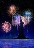 Vuurwerk op new york city — Stockfoto