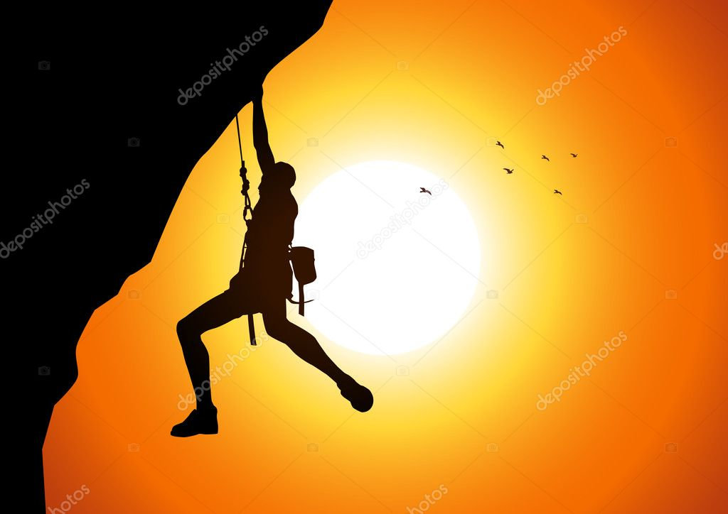 Vector illustration of a man figure hanging on the cliff  — Stock Vector #9404155