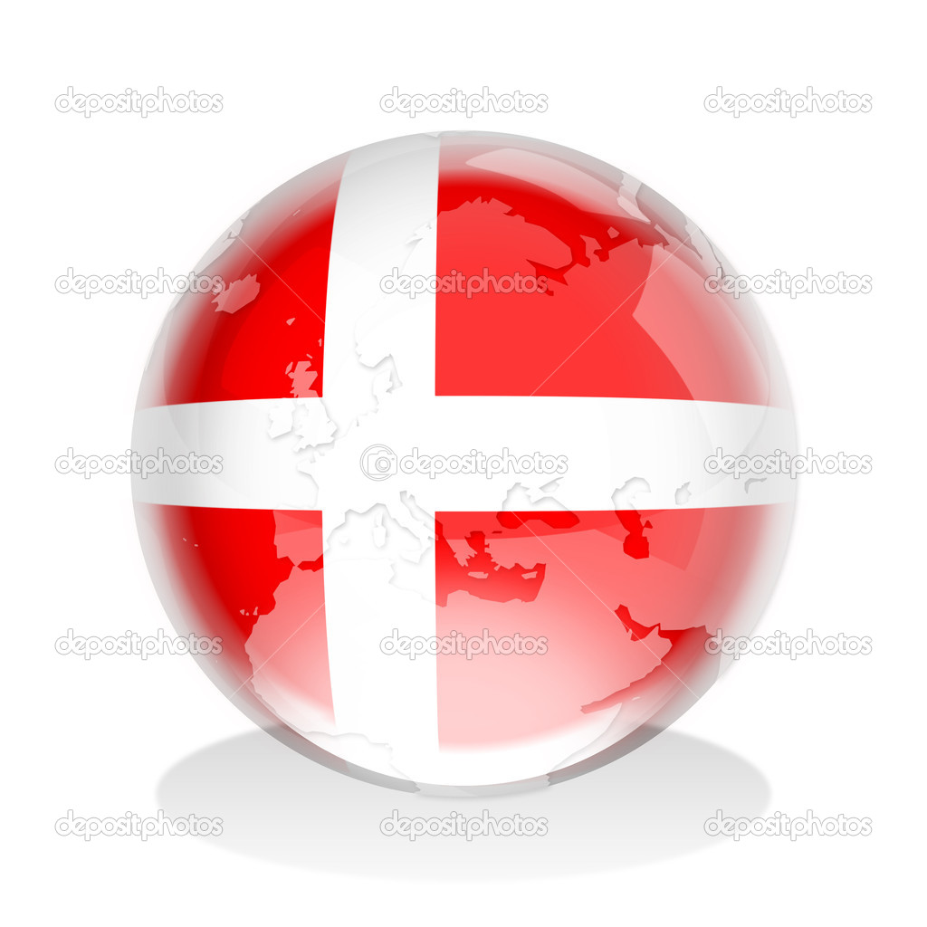 Crystal sphere of Denmark flag with world map  — Stock Photo #9454658