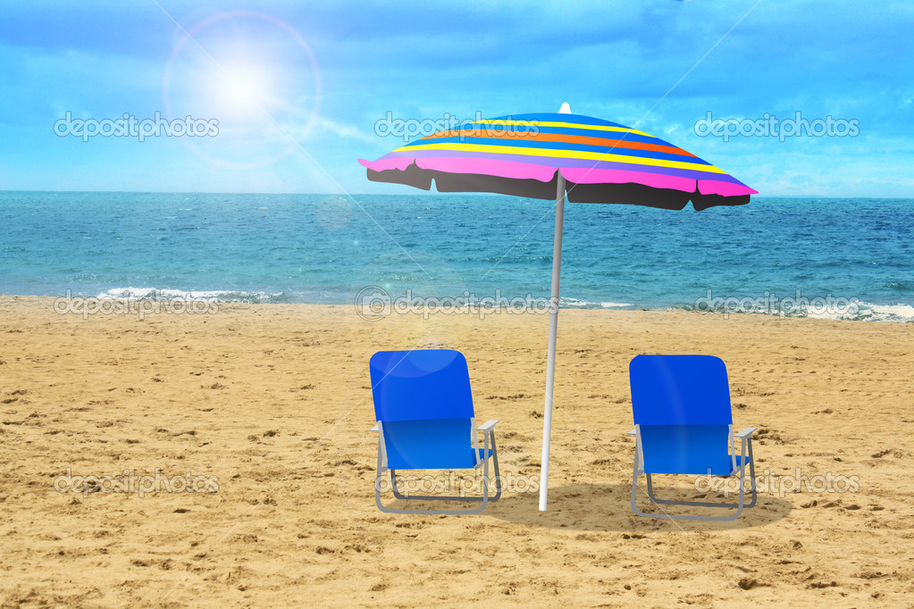 Two chairs with umbrella at the beach  — Stock Photo #9916574