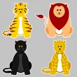 Felidae Family Sticker - Stock Vector