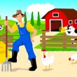 Stock Vector: Farmer in Cartoon