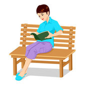 Girl On Bench — Stock Vector