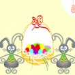 Easter bunnies card - Stok Vektör