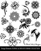 Collection d'éléments de design floral — Vecteur