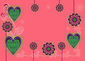 Ett kort eller en bakgrund med blommor och hjärtan — Stockvektor