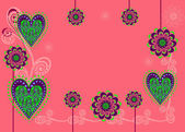 Une carte ou un fond avec des fleurs et coeurs — Vecteur