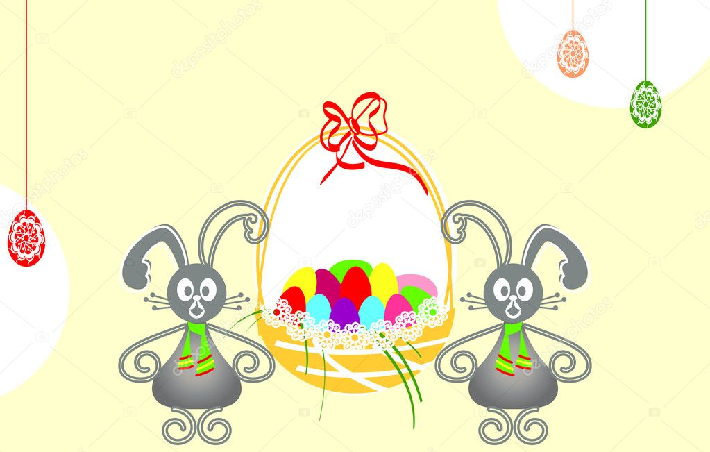 Vector illustration with Easter bunnies holding a basket of Easter eggs. Happy Easter Day!  Stock Vector #8499990