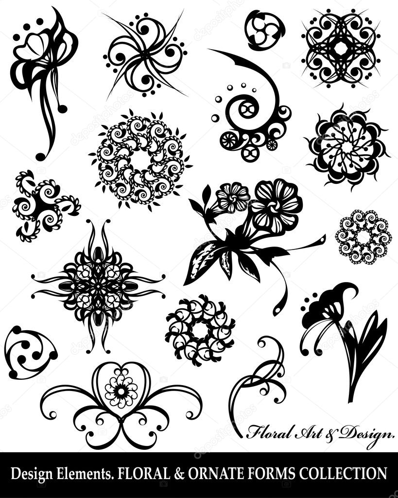 Floral & ornate forms collection. Vector illustration. Objects isolated on a white background.  Stock Vector #8499995