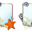 Sea life in frames set - Stok Vektör
