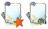 Sea life in frames set — Stock Vector
