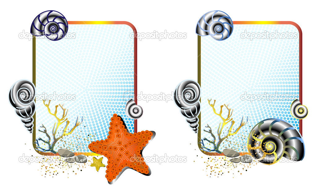 Vector illustration of marine life in cute frames — Stock Vector #8500001
