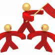 3D red men with a flag - Foto de Stock  