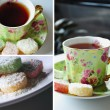 Tea time collage — Stock Photo