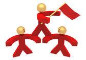3d röd män med en flagga — Stockfoto