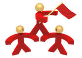 Hommes rouges 3d avec un drapeau — Photo