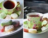 çay saati kolaj — Stok fotoğraf