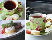 茶时间拼贴画 — 图库照片