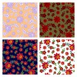 Floral seamless patterns collection — Imagen vectorial