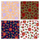 цветочные бесшовные шаблоны коллекция — Cтоковый вектор