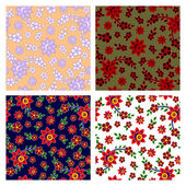 Floral seamless patterns collection — Vector de stock