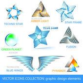 Icone vettoriali, loghi e collezione di elementi di design — Vettoriale Stock