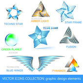 ベクトルのアイコン、ロゴ、デザイン要素のコレクション — ストックベクタ
