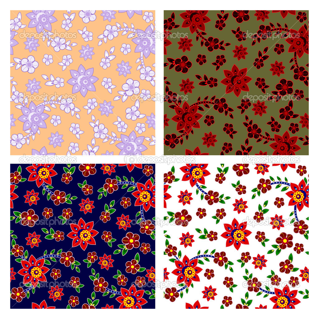 Vector seamless patterns collection in four colors. — Stock Vector #8949843