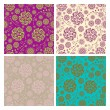 Floral seamless patterns and backgrounds set - Stok Vektör