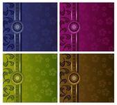 роскошные цветочные векторных стола набор — Cтоковый вектор