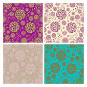 Floral seamless patterns and backgrounds set — Stockvektor