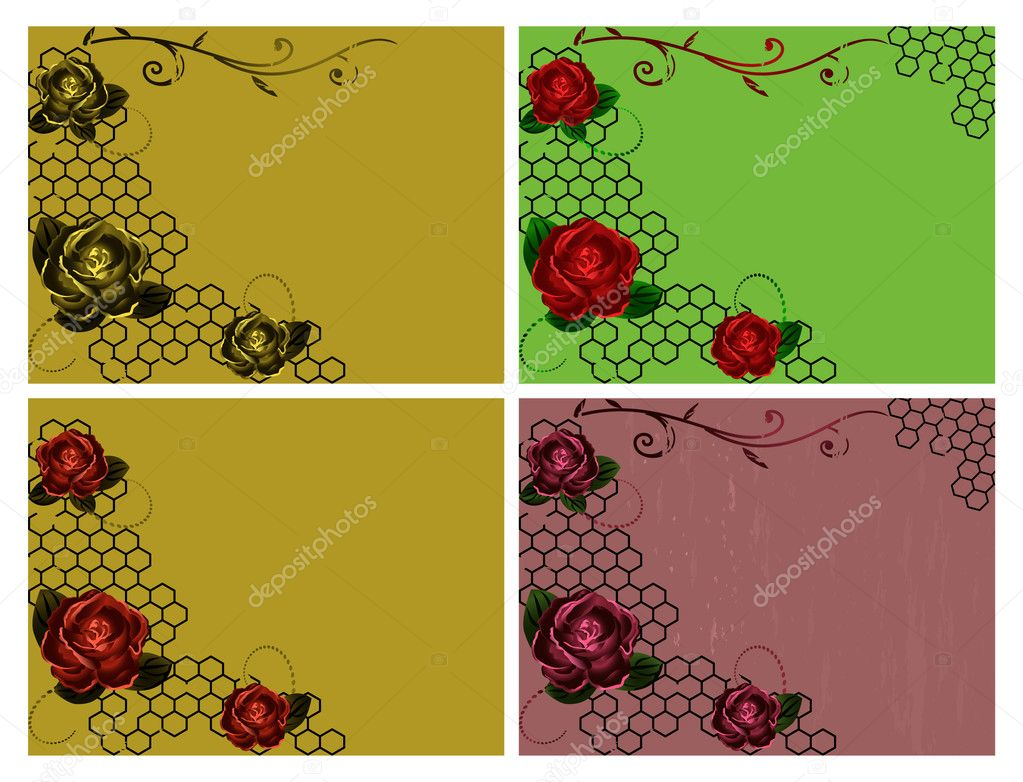 Vector retro backgrounds collection with roses. — Stock Vector #9668967