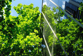 Glass office building with green reflections — Stock Photo