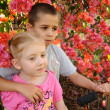 Stock Photo: Young children standing by flower bush