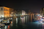 Grand Canal by night, Venice — Stock Photo