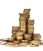 Pilhas de ouro de moedas — Foto Stock