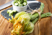 Courgette and pumpkin flower — Stock Photo
