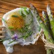 Asparagus and eggs - Stockfoto