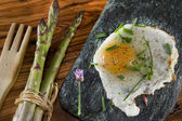 Asparagus and eggs — Stock Photo