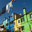 The row of colorful houses in Burano street, Italy. - Photo