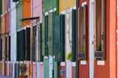The row of colorful houses in Burano street, Italy — Stock Photo
