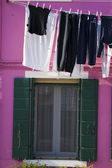 Clothes hanging outside — Stock Photo