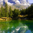 Blue lake Cervinia Italy — Stock Photo