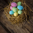 Stock Photo: Colored chocolate eggs
