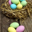 Colored chocolate eggs - Stock Photo