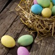 Colored chocolate eggs — Stock Photo