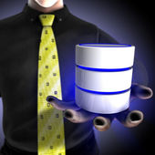Businessman providing a database — Stock Photo