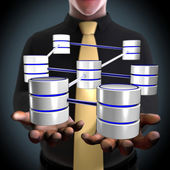Concept of an architect creating a database network — Stock Photo