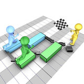 Concept of gantt chart. A team completes tasks. The flagman symbolizes the project deadline. — Stock Photo