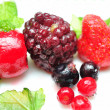 Close up of frozen mixed fruit - berries — Stock Photo